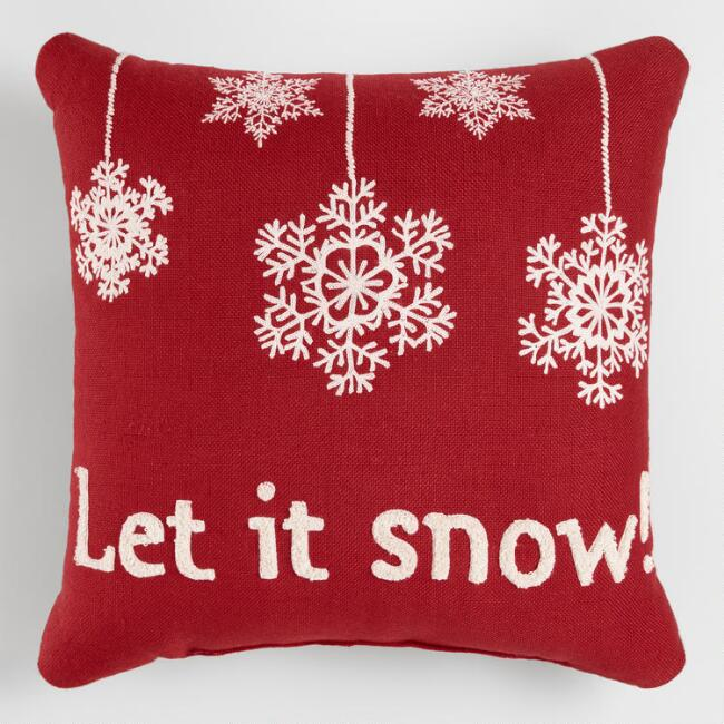 Red Let It Snow Holiday Indoor Outdoor Throw Pillow World Market