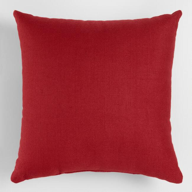 Red Woven Holiday Indoor Outdoor Throw Pillow World Market