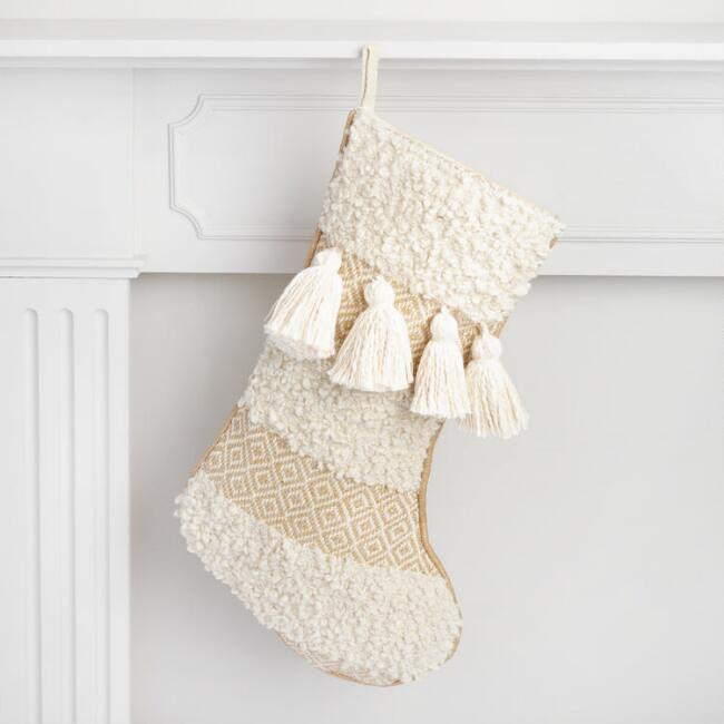 Ivory Moroccan Wedding Holiday Stocking with Tassels
