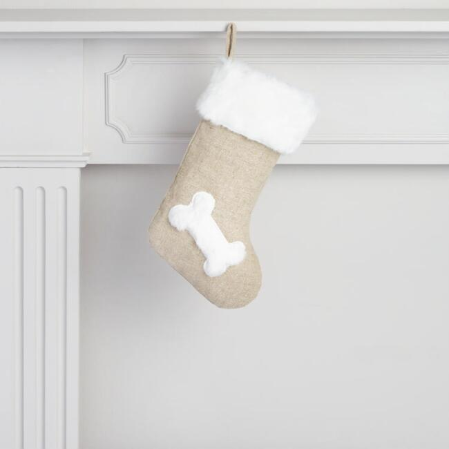 Linen and Faux Fur Dog Holiday Stocking