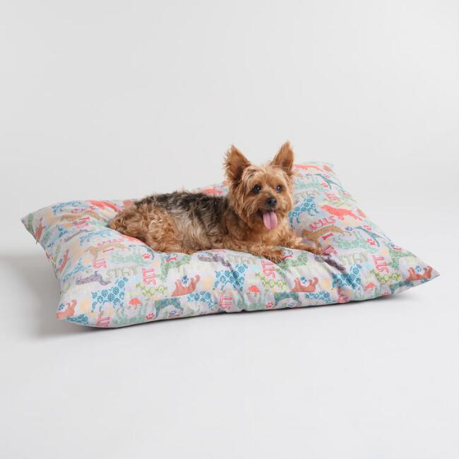 Multicolor Sit Stay Print Dog Bed
