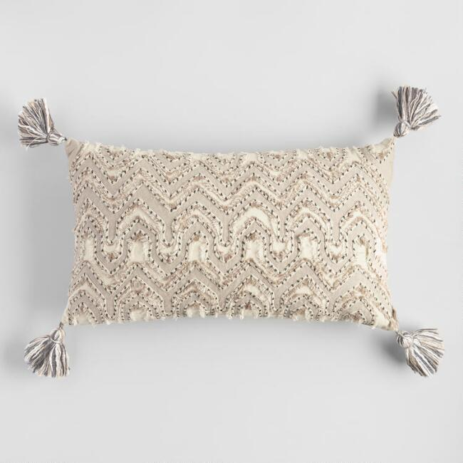 Oversized Ivory Embroidered Tyler Lumbar Pillow