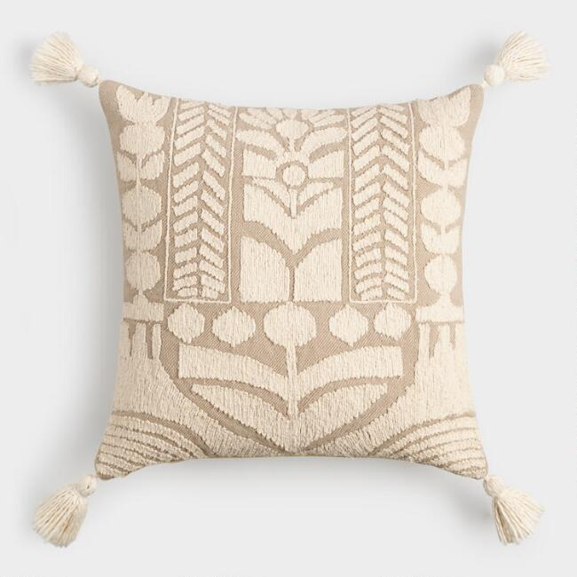 Oatmeal and Ivory Embroidered Garden Throw Pillow