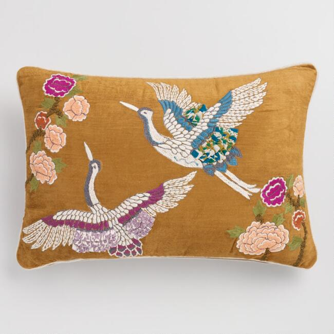 Amber Velvet Embroidered Crane Lumbar Pillow