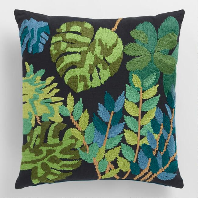 Tropical Palm Leaves Embroidered Throw Pillow