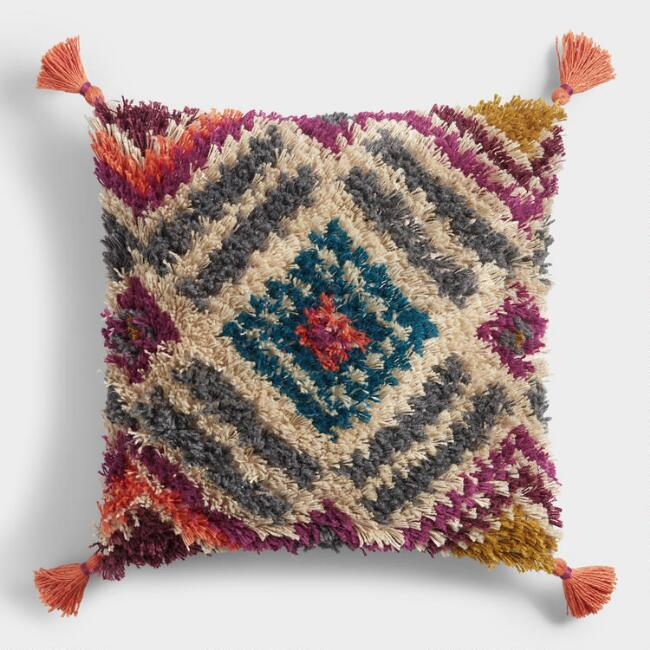Multicolor Diamond Shag Throw Pillow