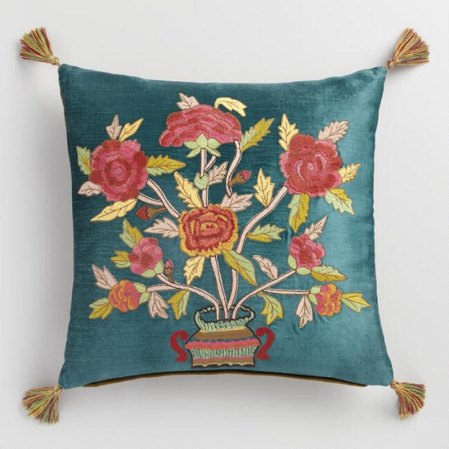 Teal Velvet Floral Chinoiserie Throw Pillow