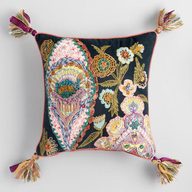 Floral Patchwork Embroidered Janice Throw Pillow