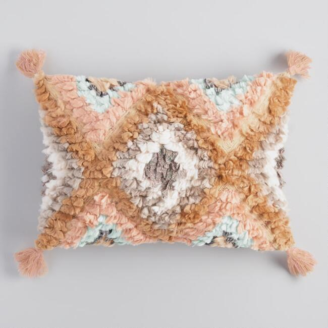 Oversized Warm Diamond Shag Lumbar Pillow