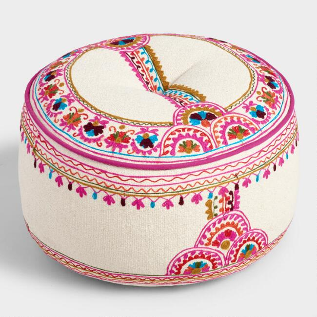 Cream Embroidered Bombay Pouf