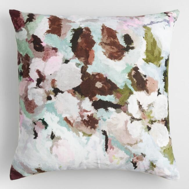 Watercolor Floral Printed Throw Pillow