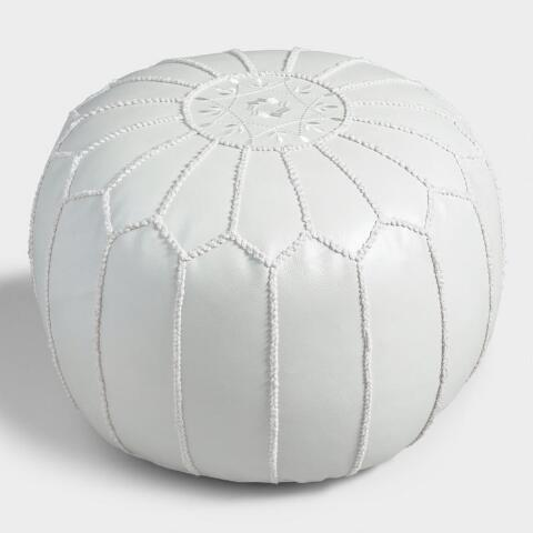 half off 2cb31 56644 Pearl White Embroidered Leather Pouf