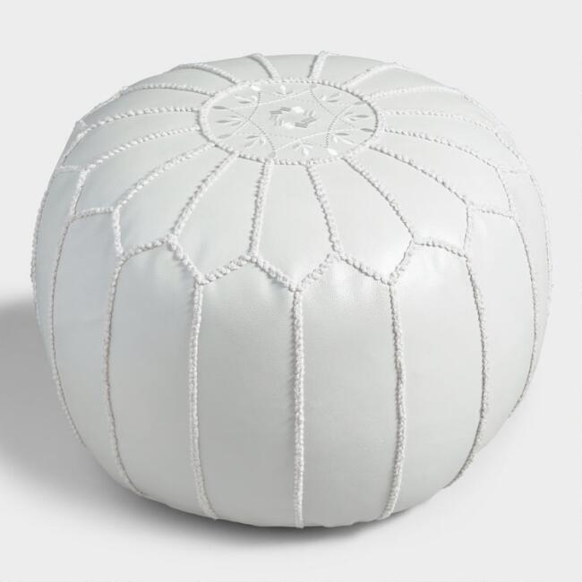 Pearl White Embroidered Leather Pouf