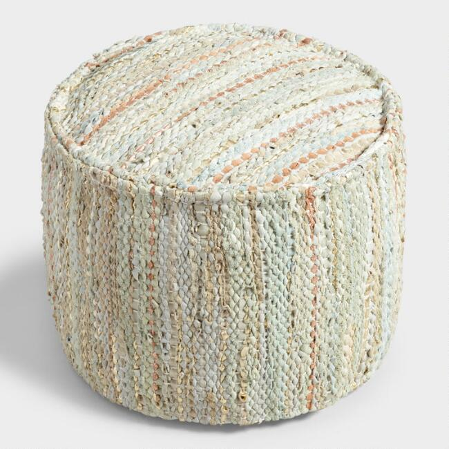 Metallic Leather Woven Pouf