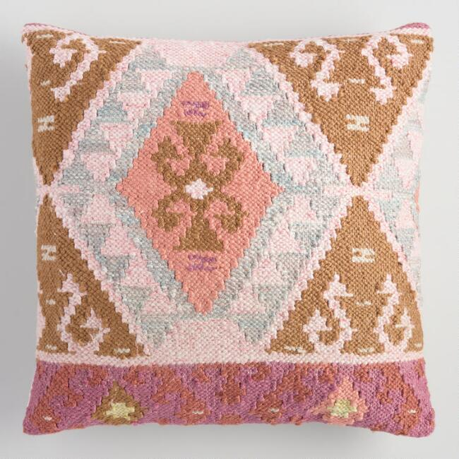 Coral Kilim Woven Indoor Outdoor Throw Pillow