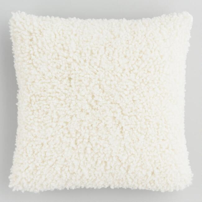 Ivory Curly Mongolian Faux Fur Throw Pillow