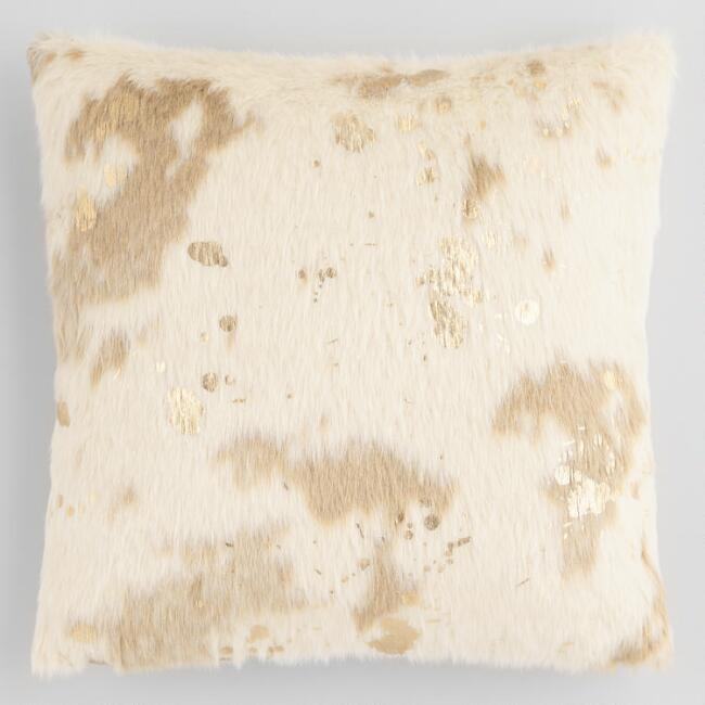 Gold Splatter Print Faux Cowhide Throw Pillow