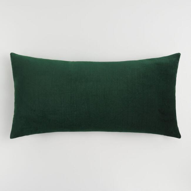 Oversized Forest Green Velvet Lumbar Pillow