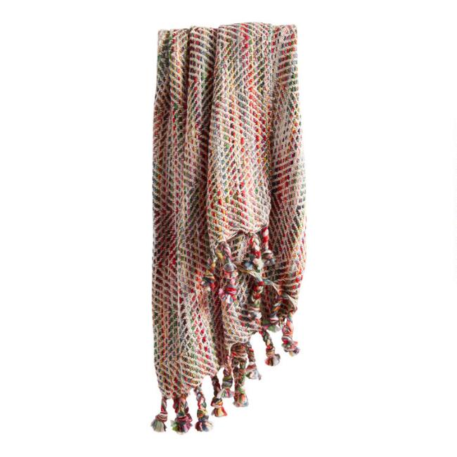 Pink Multicolor Stitch Fringe Throw Blanket