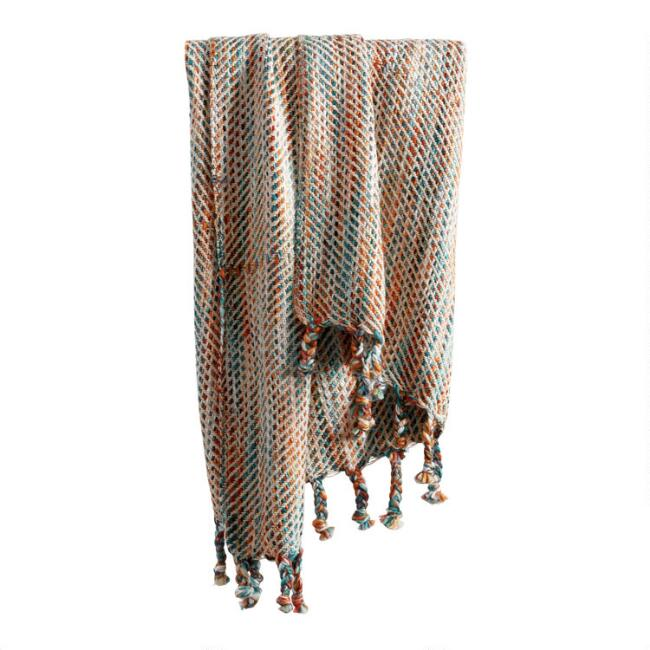 Blue Multicolor Stitch Fringe Throw Blanket