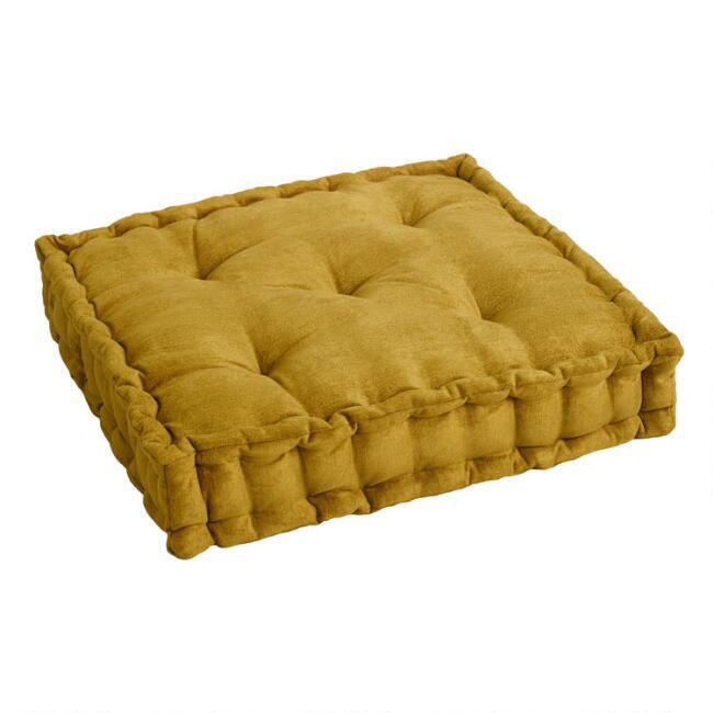 Chartreuse Velvet Tufted Floor Cushion