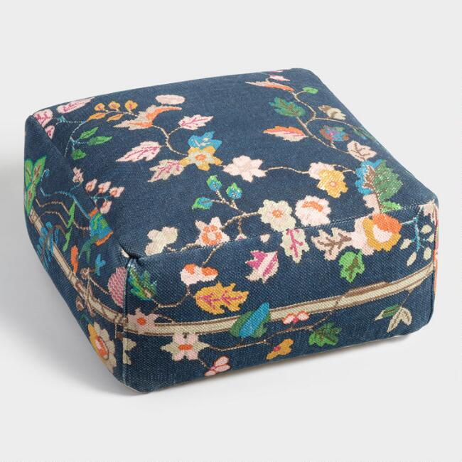 Navy Floral Chinoiserie Carpet Pouf