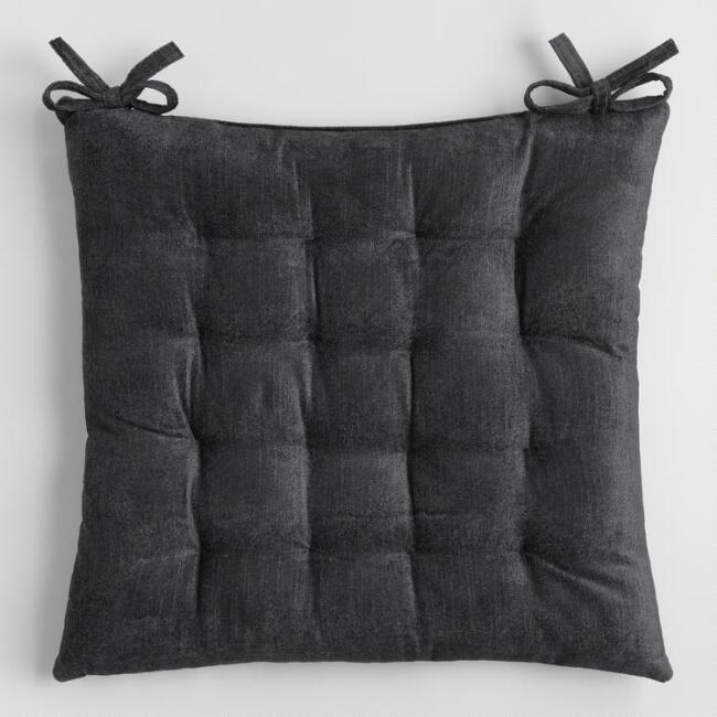Dark Charcoal Velvet Chair Cushion