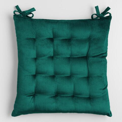 Teal Green Velvet Chair Cushion Previous V2 V1
