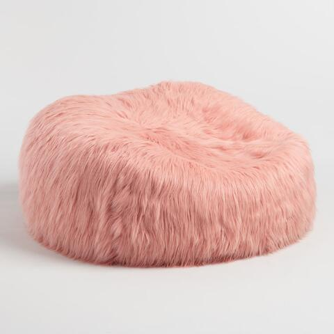 37be18ece12 Blush Mongolian Faux Fur Bean Bag Chair. Previous. v3. v1