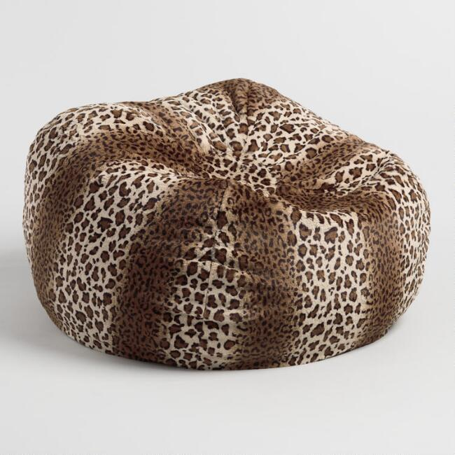 Leopard Print Faux Fur Bean Bag Chair