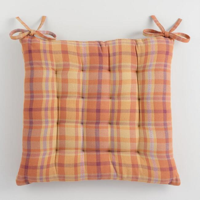 Warm Harvest Plaid Chair Cushion