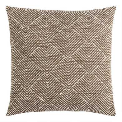 Brown Geometric Angle Jacquard Throw Pillow