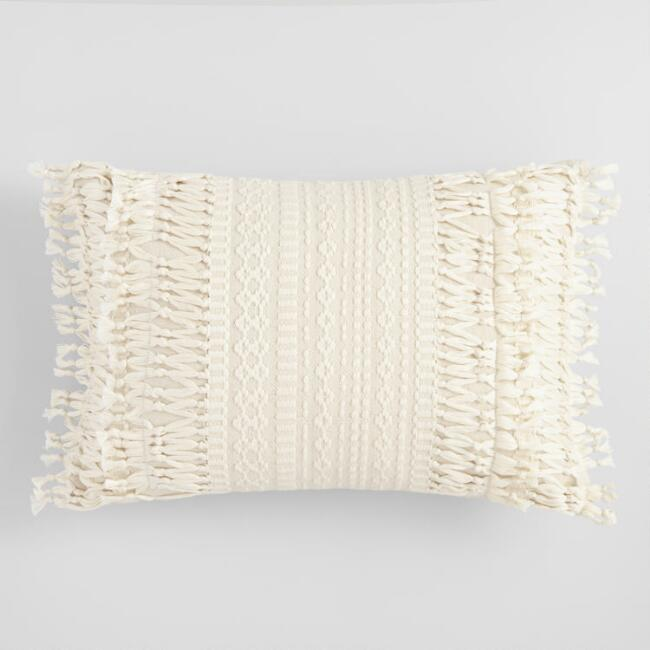 Ivory Geo Fringe Indoor Outdoor Lumbar Pillow