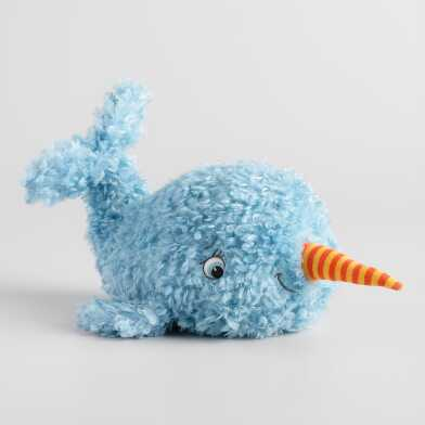 Curly Plush Stuffed Narwhal