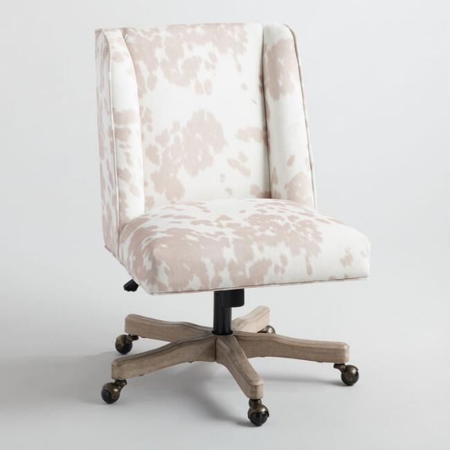 Beige Cowhide Ava Upholstered Office Chair