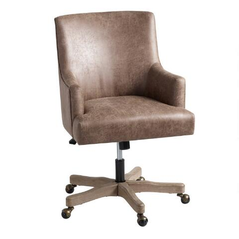 Peachy Brown Faux Leather James Upholstered Office Chair Download Free Architecture Designs Intelgarnamadebymaigaardcom
