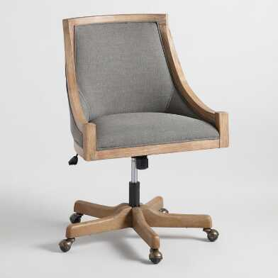 Charcoal Gray Linen Henry Upholstered Office Chair