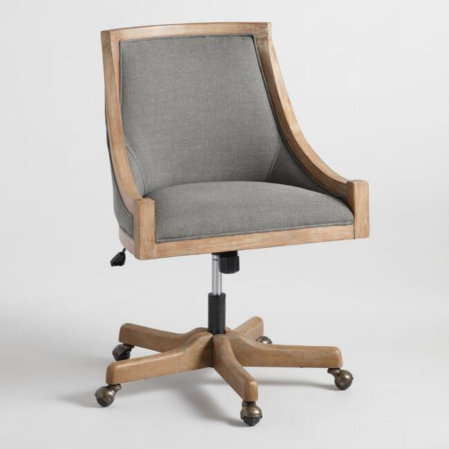 Charcoal Linen Henry Upholstered Office Chair