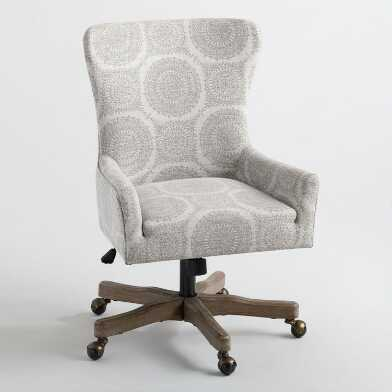 Gray Medallion Davenport Trystan Upholstered Office Chair