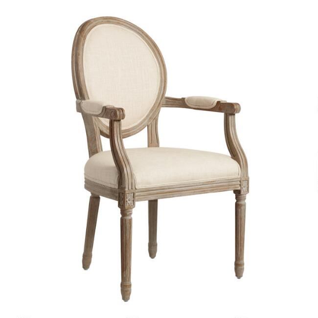 Natural Linen Paige Round Back Dining Armchair