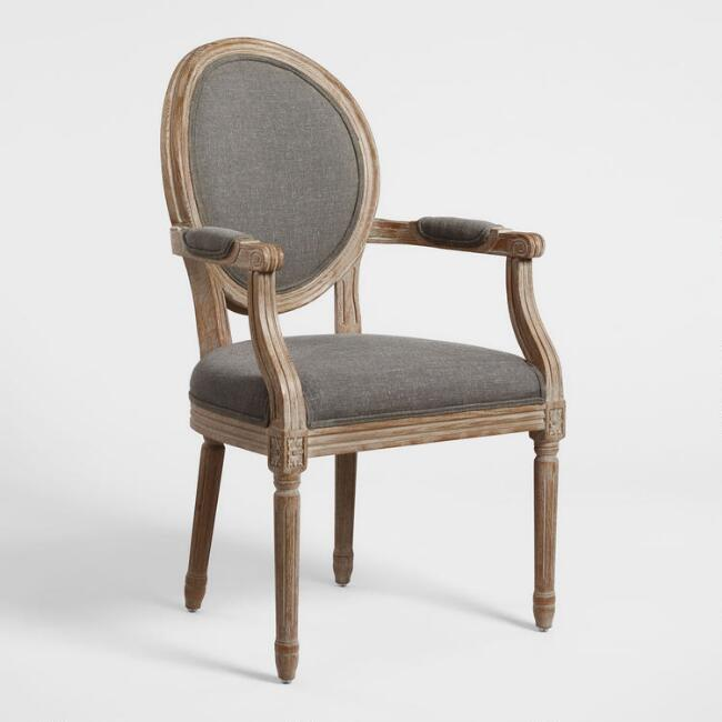 Charcoal Linen Paige Round Back Dining Armchair