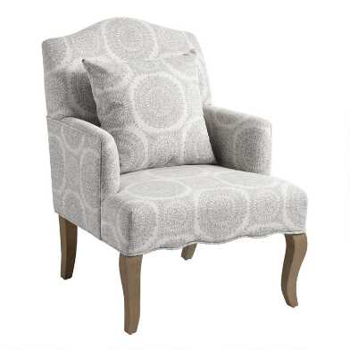 Gray Medallion Davenport Upholstered Armchair with Pillow