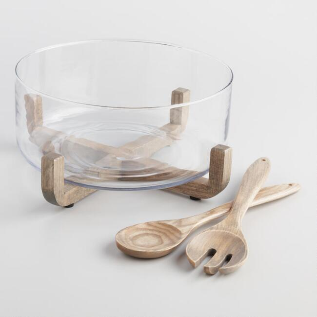 Glass Serving Bowl with Wood Stand and Servers 4 Piece Set