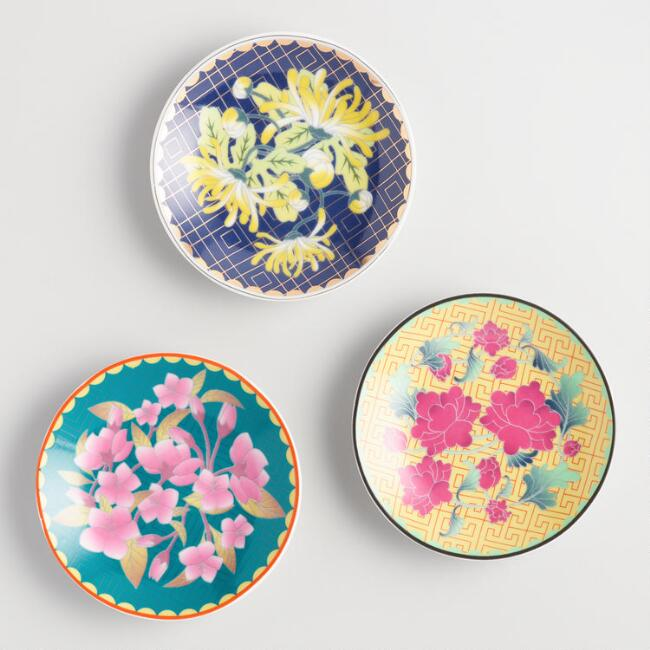 Floral Asian Inspired Porcelain Tea Rests Set of 3
