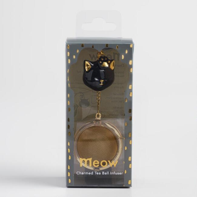 Black Cat Gold Mesh Ball Tea Infuser