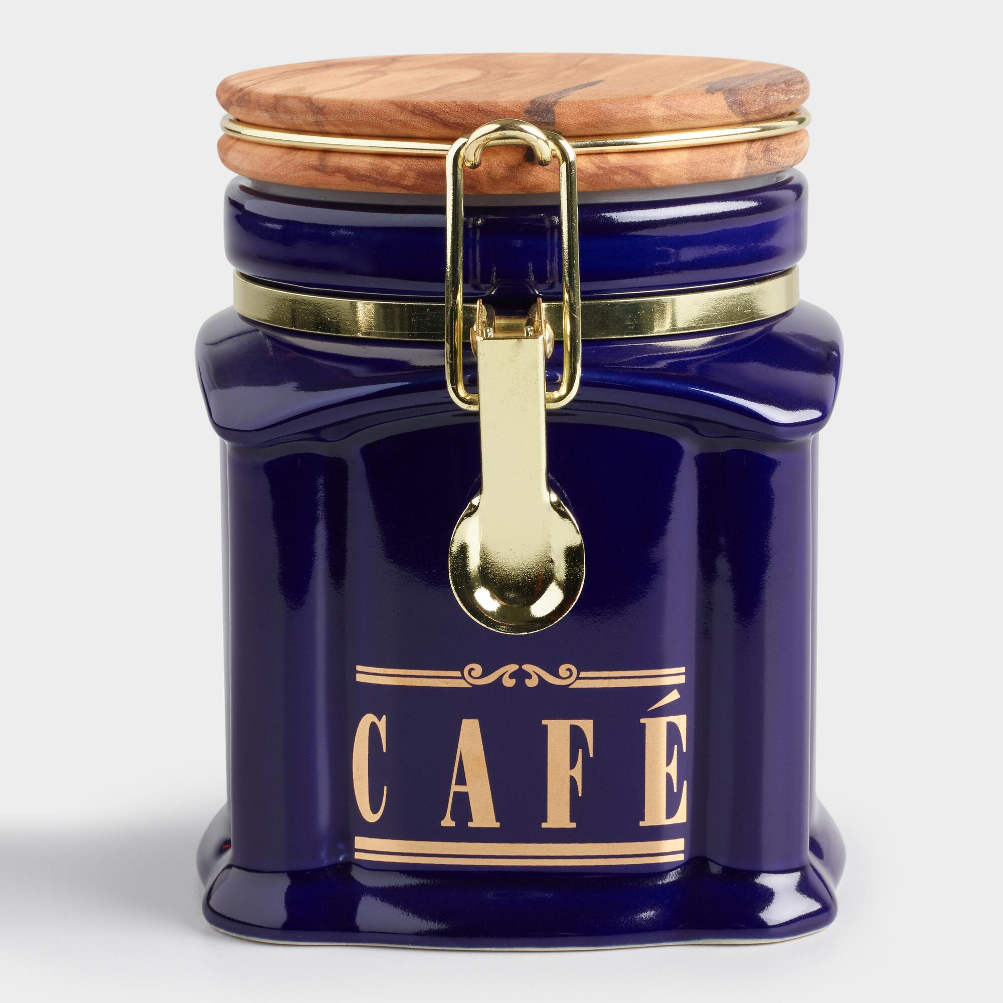 Blue Cafe Ceramic Storage Canister with Wood Gasket Lid by World Market