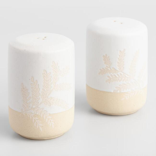 Ivory Stoneware Yellowstone Salt and Pepper Shaker Set
