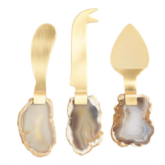 Gold Agate Slice Cheese Knives 3 Piece Set