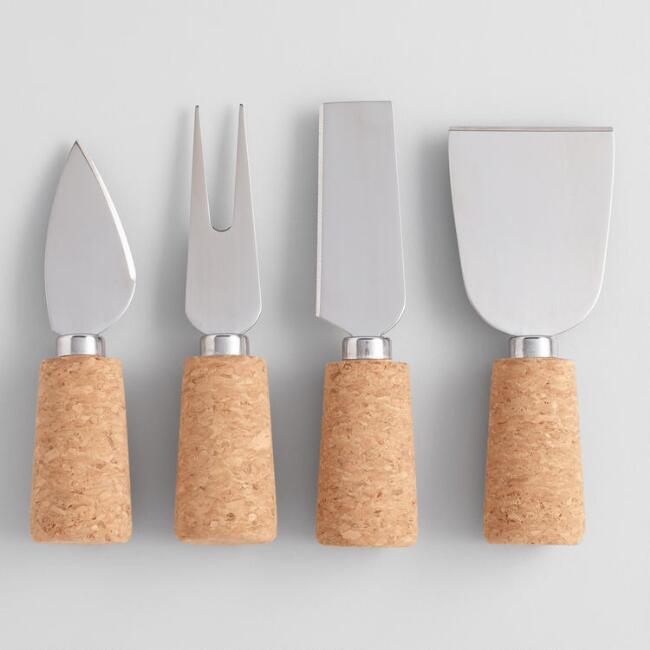 Stainless Steel and Cork 4 Piece Cheese Knife Set
