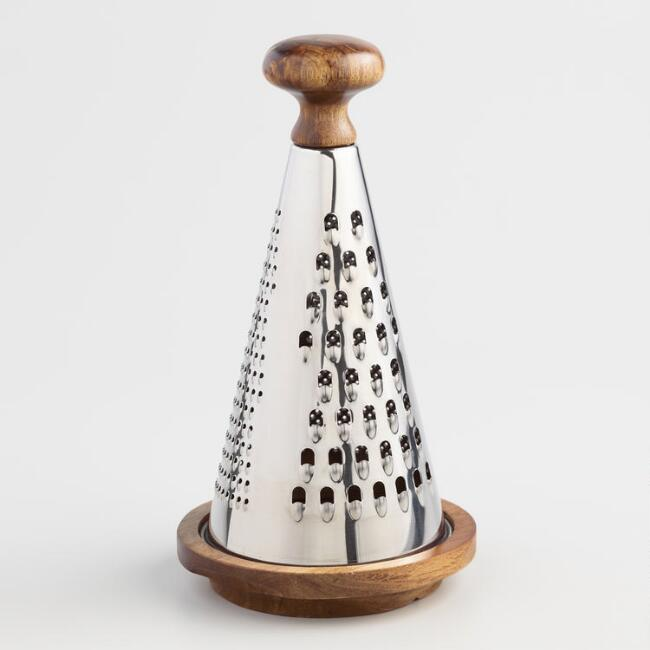 Acacia Wood and Stainless Steel Tabletop Cheese Grater